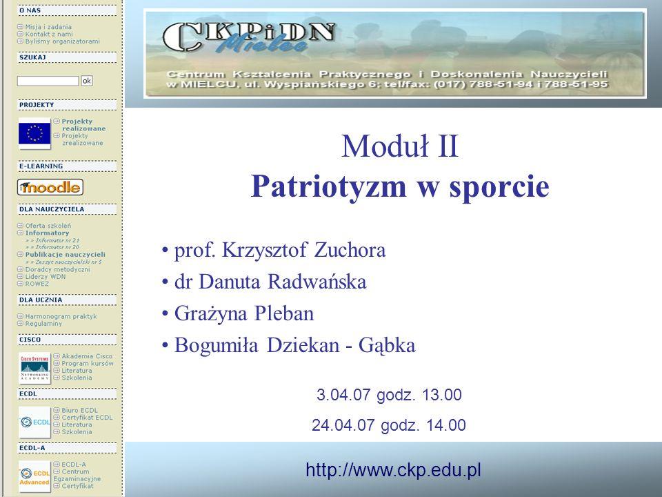http://www.ckp.edu.pl Moduł II Patriotyzm w sporcie prof. Krzysztof Zuchora dr Danuta Radwańska Grażyna Pleban Bogumiła Dziekan - Gąbka 3.04.07 godz.