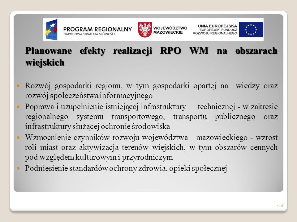 Planowane efekty realizacji RPO WM na obszarach wiejskich Rozwój gospodarki regionu, w tym gospodarki opartej na wiedzy oraz rozwój społeczeństwa info