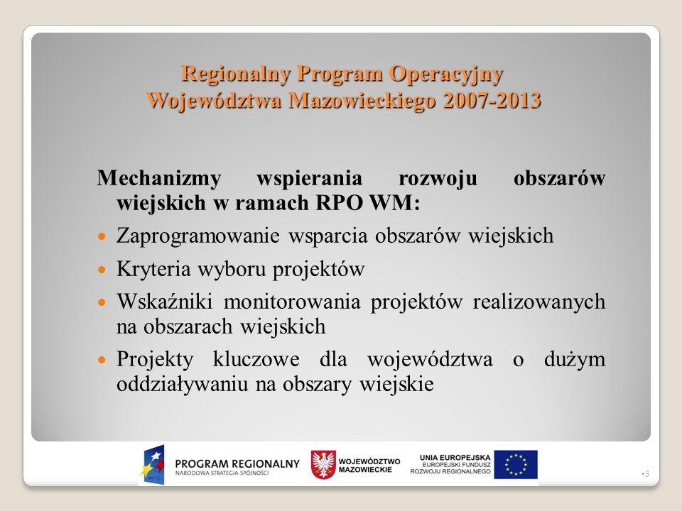Regionalny Program Operacyjny Województwa Mazowieckiego 2007-2013 Mechanizmy wspierania rozwoju obszarów wiejskich w ramach RPO WM: Zaprogramowanie ws