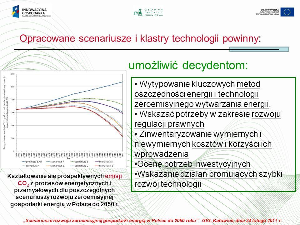 Opracowane scenariusze i klastry technologii powinny: umożliwić decydentom: Kształtowanie się prospektywnych emisji CO 2 z procesów energetycznych i przemysłowych dla poszczególnych scenariuszy rozwoju zeroemisyjnej gospodarki energią w Polsce do 2050 r.