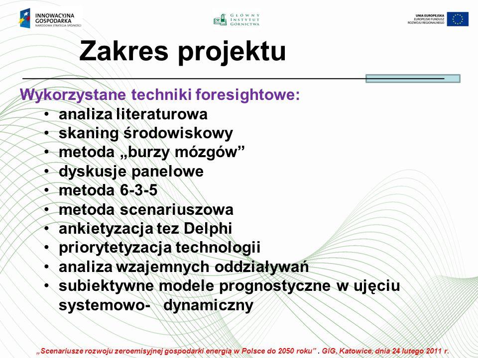 Zakres projektu Wykorzystane techniki foresightowe: analiza literaturowa skaning środowiskowy metoda burzy mózgów dyskusje panelowe metoda 6-3-5 metoda scenariuszowa ankietyzacja tez Delphi priorytetyzacja technologii analiza wzajemnych oddziaływań subiektywne modele prognostyczne w ujęciu systemowo-dynamiczny Scenariusze rozwoju zeroemisyjnej gospodarki energią w Polsce do 2050 roku.