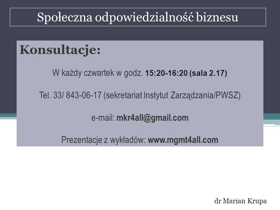Społeczna odpowiedzialność biznesu dr Marian Krupa Konsultacje: W każdy czwartek w godz. 15:20-16:20 (sala 2.17) Tel. 33/ 843-06-17 (sekretariat Insty