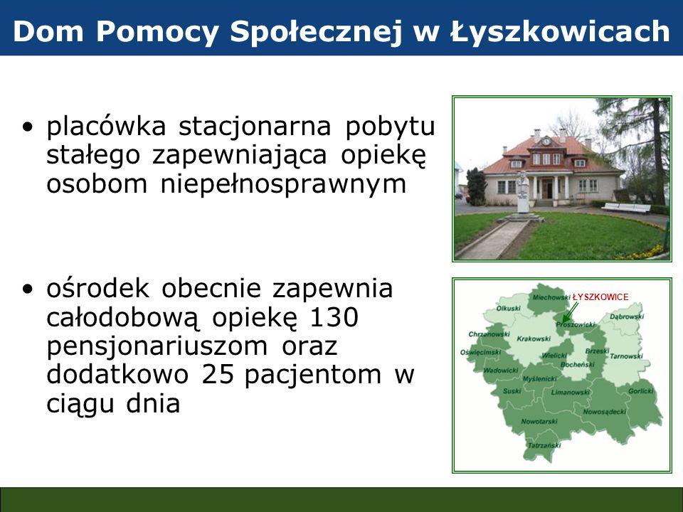 Dom Pomocy Społecznej w Łyszkowicach zakład zatrudnia 93 osoby wydawanych jest 420 posiłków dziennie na terenie ośrodka znajduje się 9 budynków o różnym przeznaczeniu zasilanych w ciepło z centralnej wolnostojącej kotłowni koksowo-węglowej