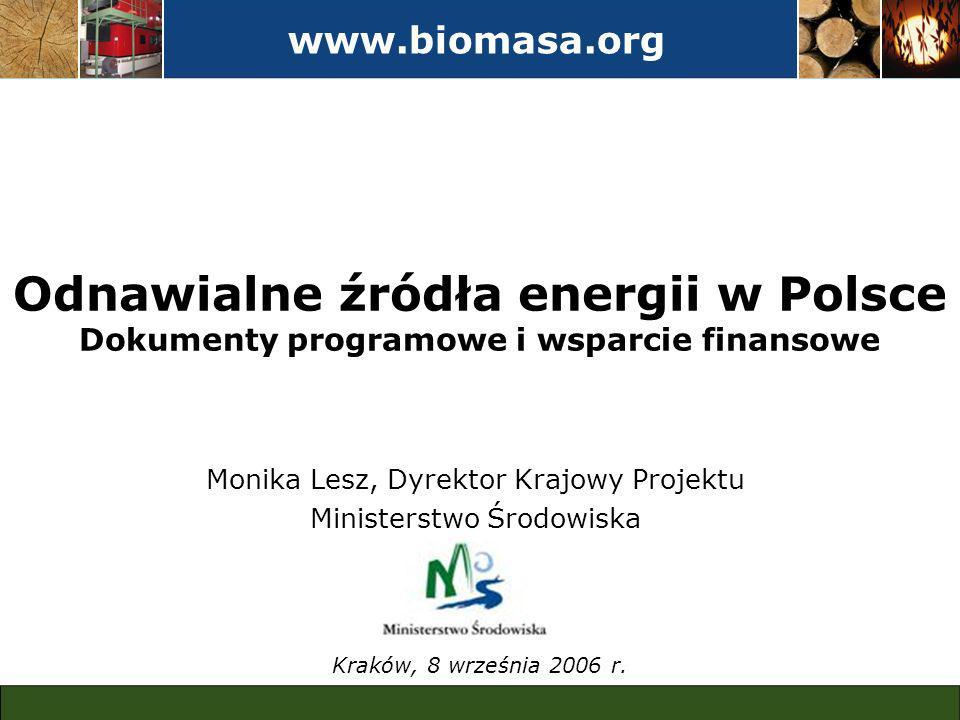 www.biomasa.org Odnawialne źródła energii w Polsce Dokumenty programowe i wsparcie finansowe Kraków, 8 września 2006 r.