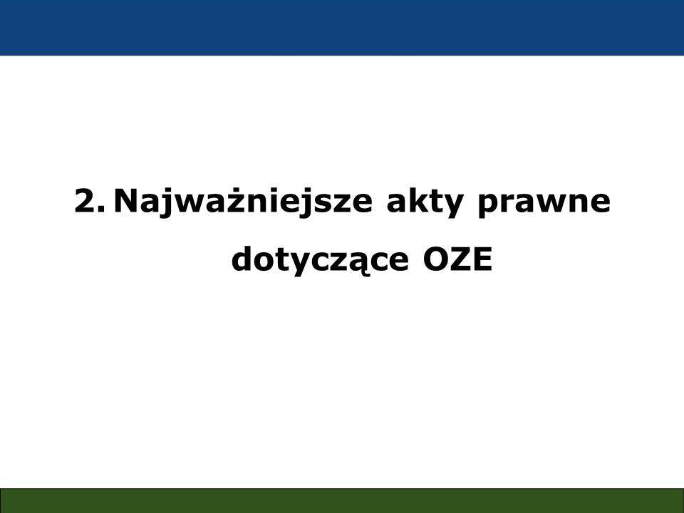 2.Najważniejsze akty prawne dotyczące OZE