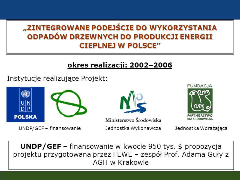 ZINTEGROWANE PODEJŚCIE DO WYKORZYSTANIA ODPADÓW DRZEWNYCH DO PRODUKCJI ENERGII CIEPLNEJ W POLSCE UNDP/GEF – finansowanie w kwocie 950 tys.