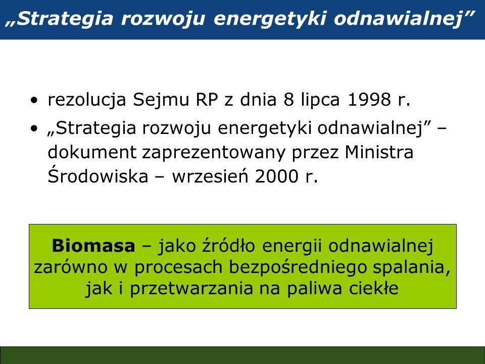 Strategia rozwoju energetyki odnawialnej rezolucja Sejmu RP z dnia 8 lipca 1998 r.