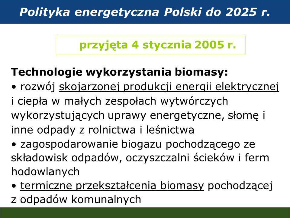 Polityka energetyczna Polski do 2025 r. przyjęta 4 stycznia 2005 r.