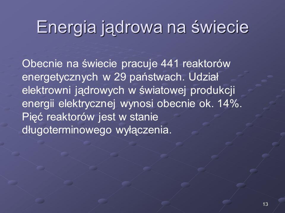 13 Energia jądrowa na świecie Obecnie na świecie pracuje 441 reaktorów energetycznych w 29 państwach. Udział elektrowni jądrowych w światowej produkcj