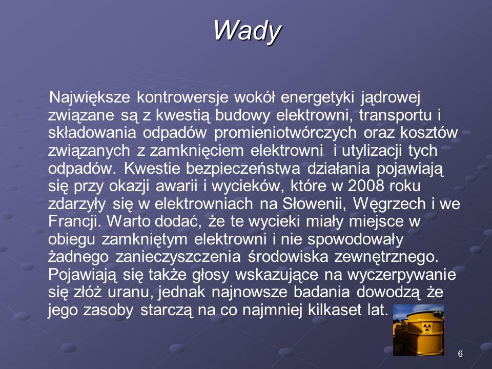 17 Reaktory w Polsce Reaktor Maria – jedyny obecnie działający polski reaktor jądrowy (pierwszy polskiej produkcji) o mocy cieplnej 30 MW, uruchomiony w grudniu 1974 w Instytucie Badań Jądrowych (IBJ) w Otwocku-Świerku pod Warszawą.