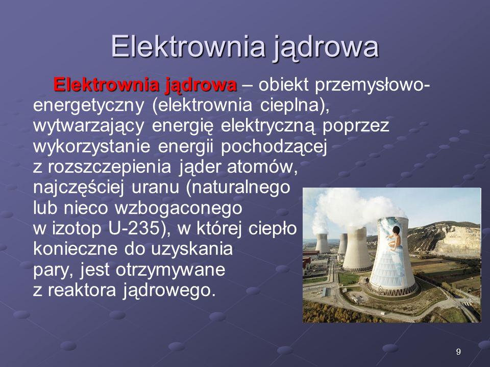 9 Elektrownia jądrowa Elektrownia jądrowa Elektrownia jądrowa – obiekt przemysłowo- energetyczny (elektrownia cieplna), wytwarzający energię elektrycz
