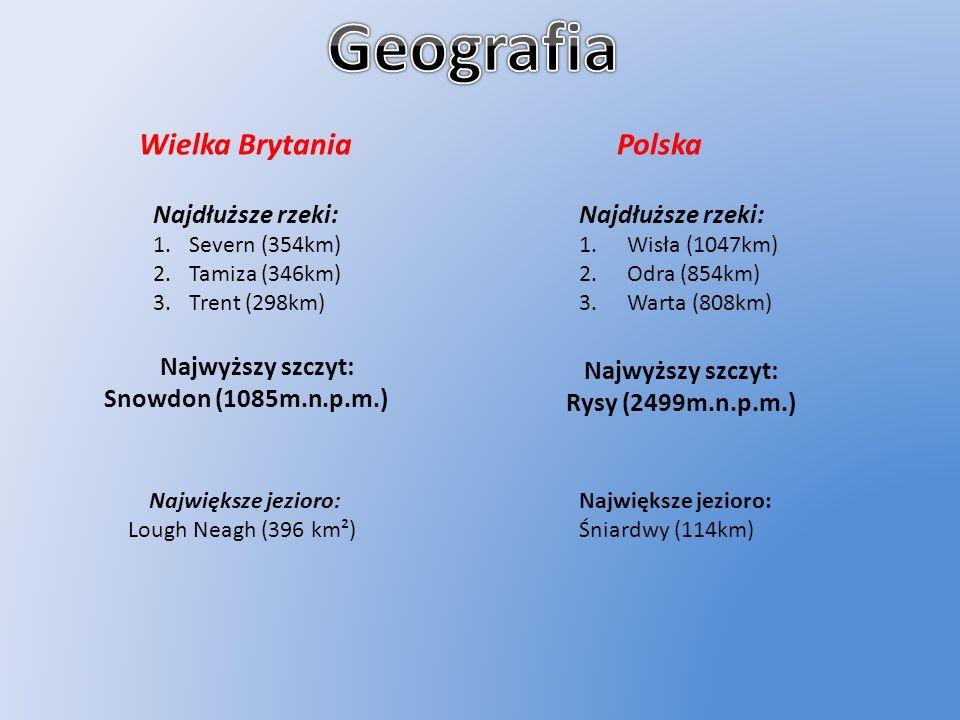 Wielka Brytania Polska Najdłuższe rzeki: 1.Severn (354km) 2.Tamiza (346km) 3.Trent (298km) Najwyższy szczyt: Snowdon (1085m.n.p.m.) Największe jezioro