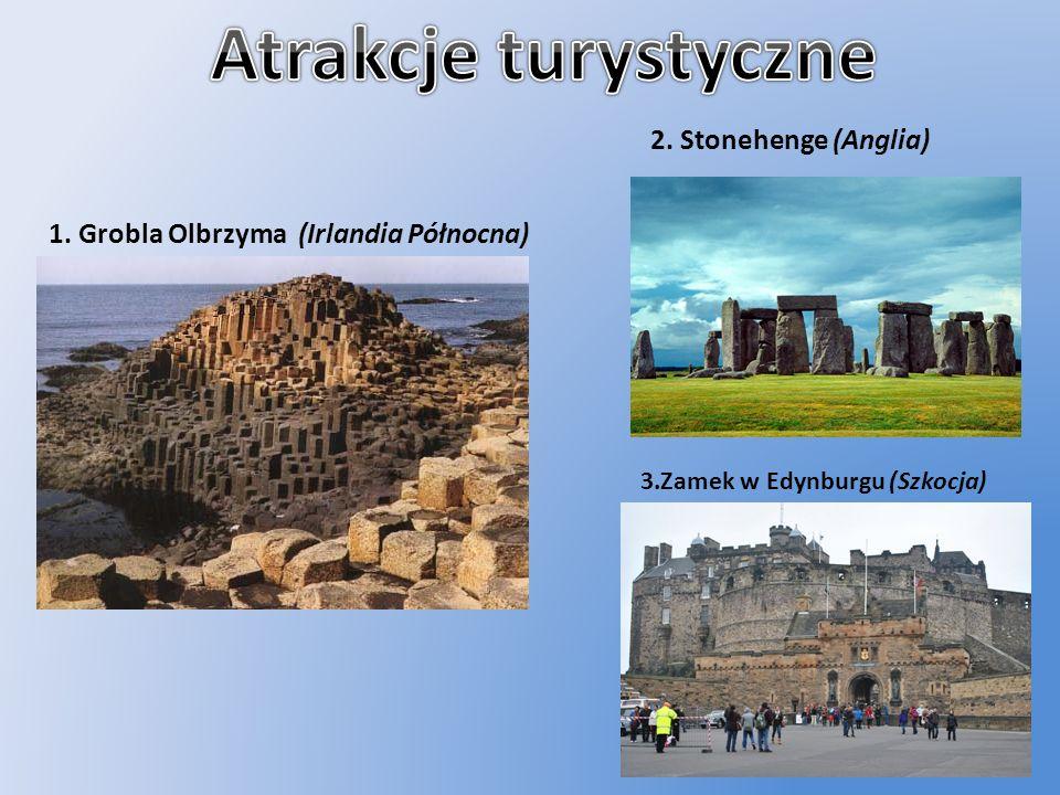 1. Grobla Olbrzyma (Irlandia Północna) 2. Stonehenge (Anglia) 3.Zamek w Edynburgu (Szkocja)