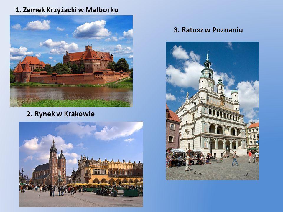 1. Zamek Krzyżacki w Malborku 2. Rynek w Krakowie 3. Ratusz w Poznaniu