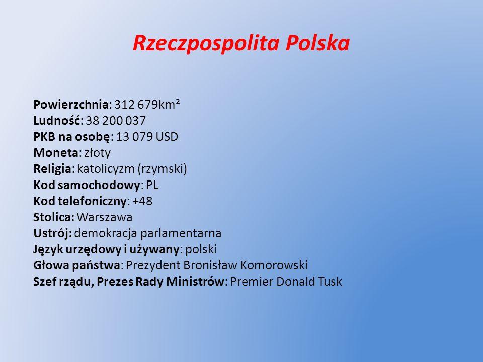 Rzeczpospolita Polska Powierzchnia: 312 679km² Ludność: 38 200 037 PKB na osobę: 13 079 USD Moneta: złoty Religia: katolicyzm (rzymski) Kod samochodow