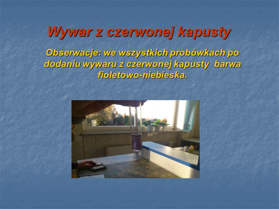 Wywar z czerwonej kapusty Obserwacje: we wszystkich probówkach po dodaniu wywaru z czerwonej kapusty barwa fioletowo-niebieska.