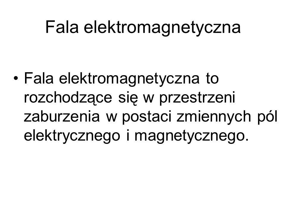 Fala elektromagnetyczna Z równań Maxwella wynika, że zarówno pole elektryczne jak również i pole magnetyczne, czyli fala elektromagnetyczna, rozchodzą się w próżni z prędkością c równą: ε 0 – przenikalność elektryczna próżni µ 0 - przenikalność magnetyczna próżni