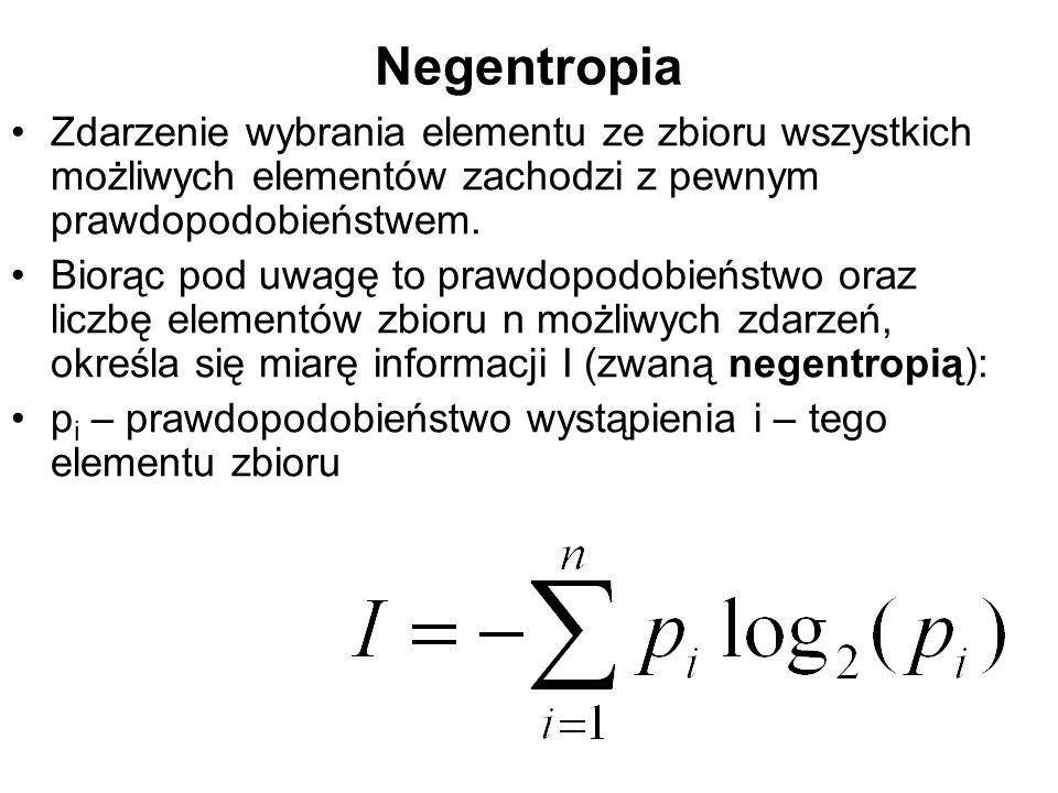 Negentropia Zdarzenie wybrania elementu ze zbioru wszystkich możliwych elementów zachodzi z pewnym prawdopodobieństwem. Biorąc pod uwagę to prawdopodo