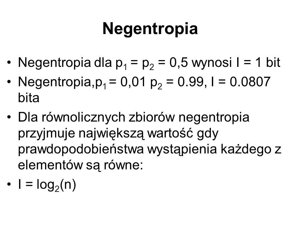 Negentropia Negentropia dla p 1 = p 2 = 0,5 wynosi I = 1 bit Negentropia,p 1 = 0,01 p 2 = 0.99, I = 0.0807 bita Dla równolicznych zbiorów negentropia