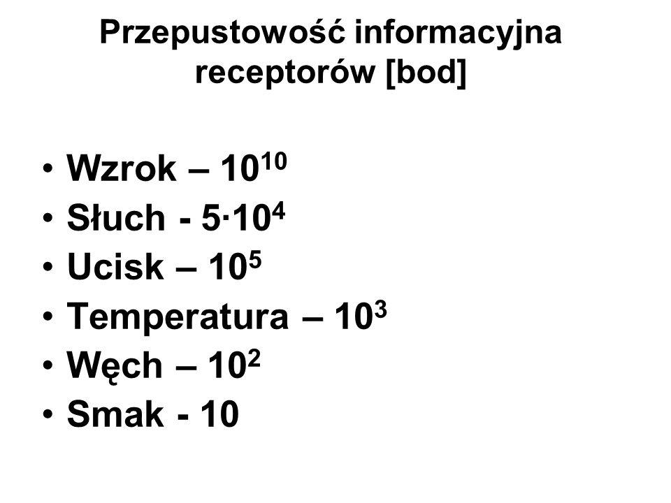 Przepustowość informacyjna receptorów [bod] Wzrok – 10 10 Słuch - 5·10 4 Ucisk – 10 5 Temperatura – 10 3 Węch – 10 2 Smak - 10