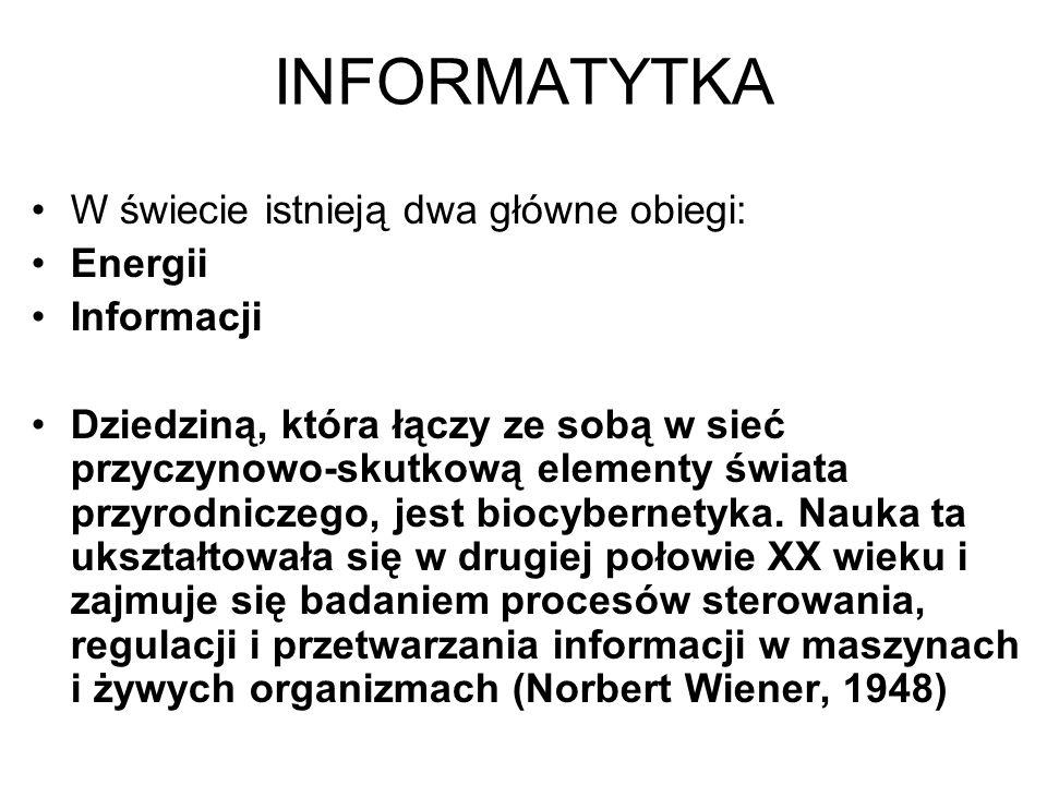 Teoria informacji Teoria informacji zajmuje się analizą procesów wytwarzania, przenoszenia, odbioru i przetwarzania informacji.