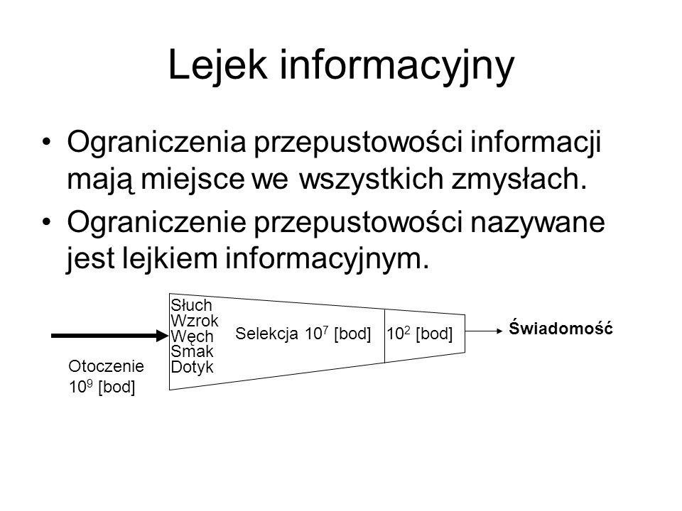 Lejek informacyjny Ograniczenia przepustowości informacji mają miejsce we wszystkich zmysłach. Ograniczenie przepustowości nazywane jest lejkiem infor