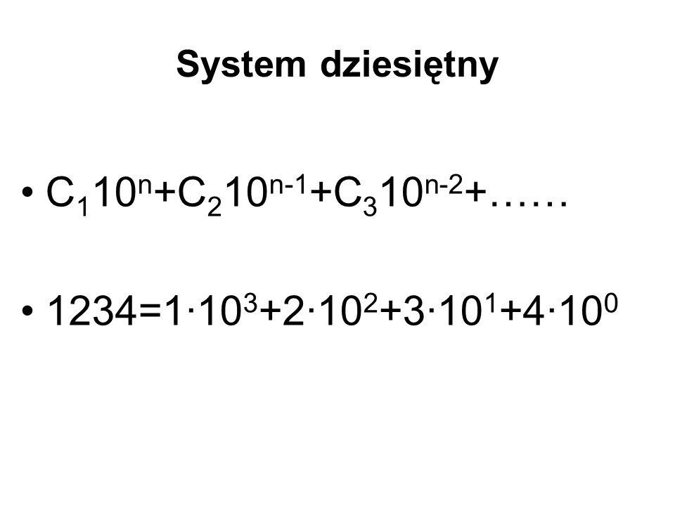 System dziesiętny C 1 10 n +C 2 10 n-1 +C 3 10 n-2 +…… 1234=1·10 3 +2·10 2 +3·10 1 +4·10 0