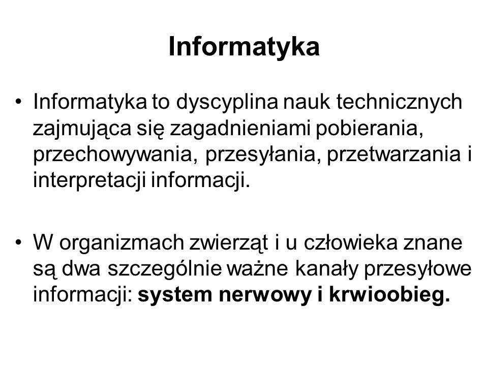 Informatyka Informatyka to dyscyplina nauk technicznych zajmująca się zagadnieniami pobierania, przechowywania, przesyłania, przetwarzania i interpret