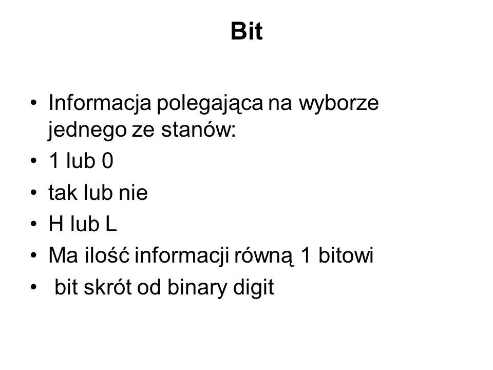 Bit Informacja polegająca na wyborze jednego ze stanów: 1 lub 0 tak lub nie H lub L Ma ilość informacji równą 1 bitowi bit skrót od binary digit