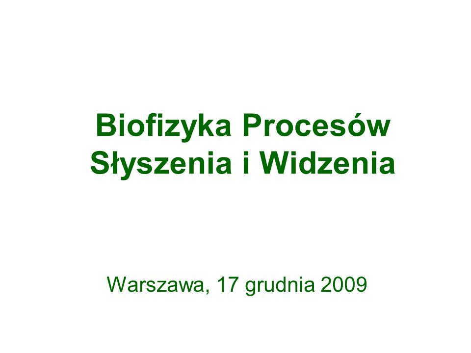 Biofizyka Procesów Słyszenia i Widzenia Warszawa, 17 grudnia 2009