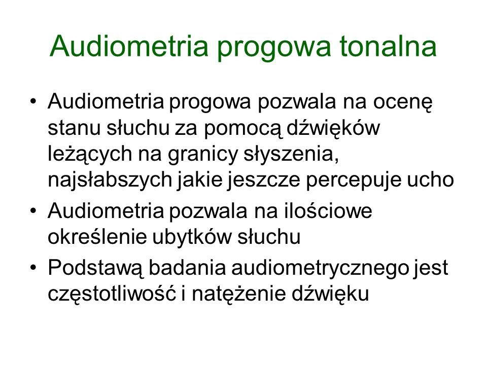 Audiometria progowa tonalna Audiometria progowa pozwala na ocenę stanu słuchu za pomocą dźwięków leżących na granicy słyszenia, najsłabszych jakie jes