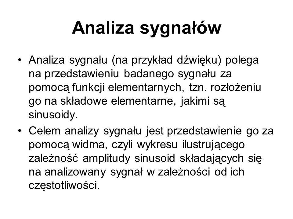 Analiza sygnałów Analiza sygnału (na przykład dźwięku) polega na przedstawieniu badanego sygnału za pomocą funkcji elementarnych, tzn. rozłożeniu go n
