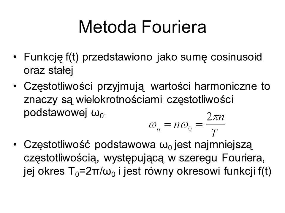 Metoda Fouriera Funkcję f(t) przedstawiono jako sumę cosinusoid oraz stałej Częstotliwości przyjmują wartości harmoniczne to znaczy są wielokrotnościa