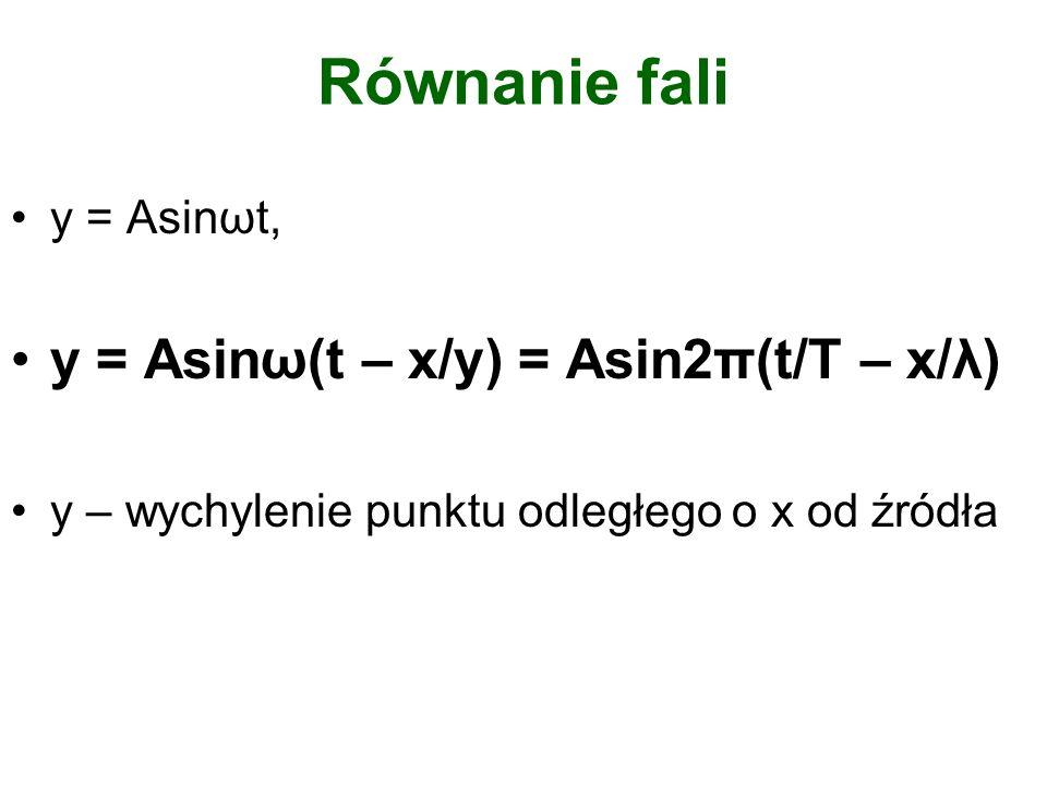 Równanie fali y = Asinωt, y = Asinω(t – x/y) = Asin2π(t/T – x/λ) y – wychylenie punktu odległego o x od źródła