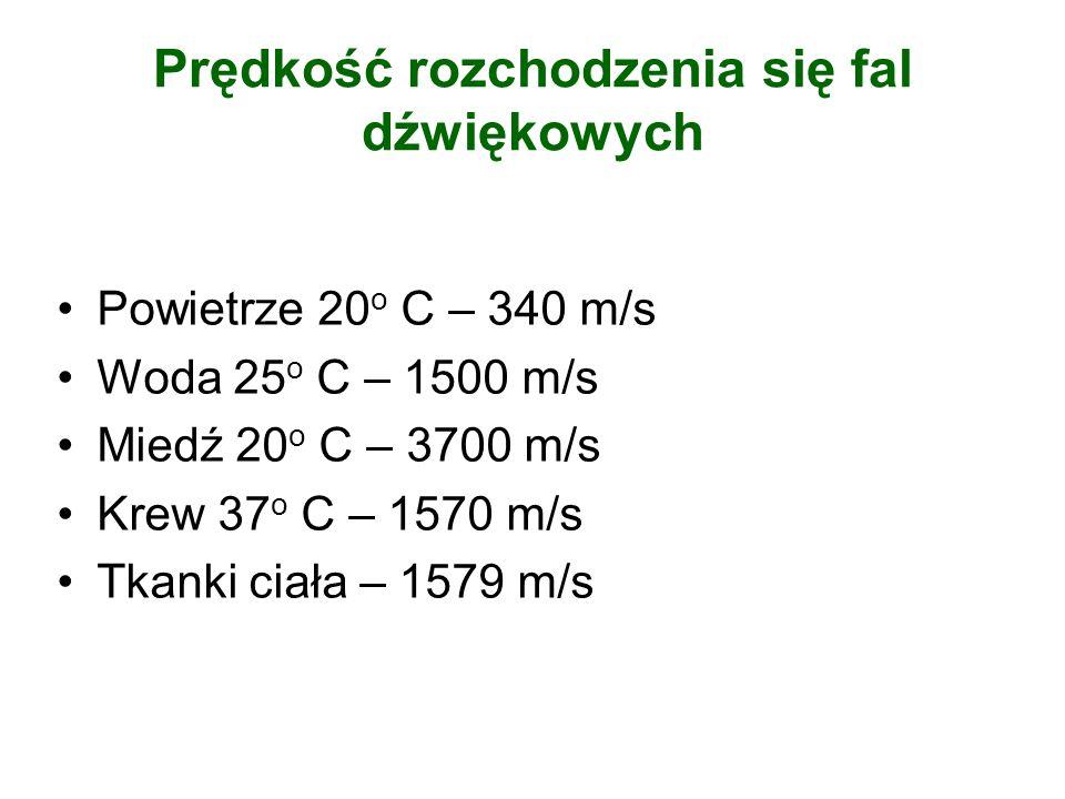 Prędkość rozchodzenia się fal dźwiękowych Powietrze 20 o C – 340 m/s Woda 25 o C – 1500 m/s Miedź 20 o C – 3700 m/s Krew 37 o C – 1570 m/s Tkanki ciał