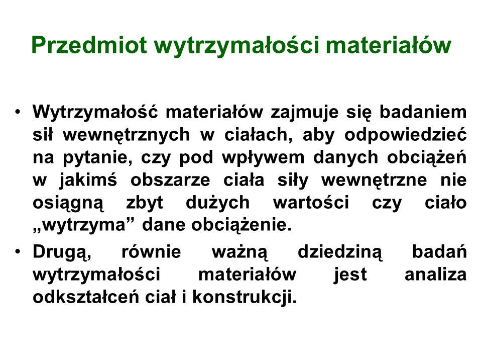 Przedmiot wytrzymałości materiałów Wytrzymałość materiałów zajmuje się badaniem sił wewnętrznych w ciałach, aby odpowiedzieć na pytanie, czy pod wpływ