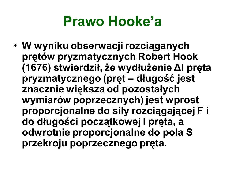 Prawo Hookea W wyniku obserwacji rozciąganych prętów pryzmatycznych Robert Hook (1676) stwierdził, że wydłużenie Δl pręta pryzmatycznego (pręt – długo