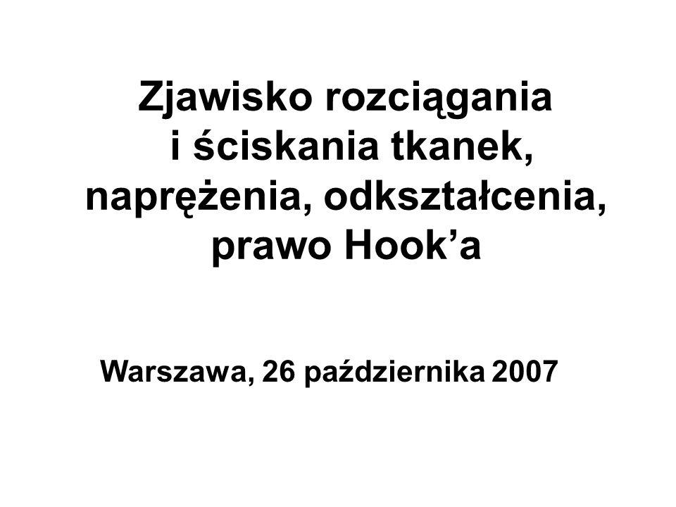 Zjawisko rozciągania i ściskania tkanek, naprężenia, odkształcenia, prawo Hooka Warszawa, 26 października 2007