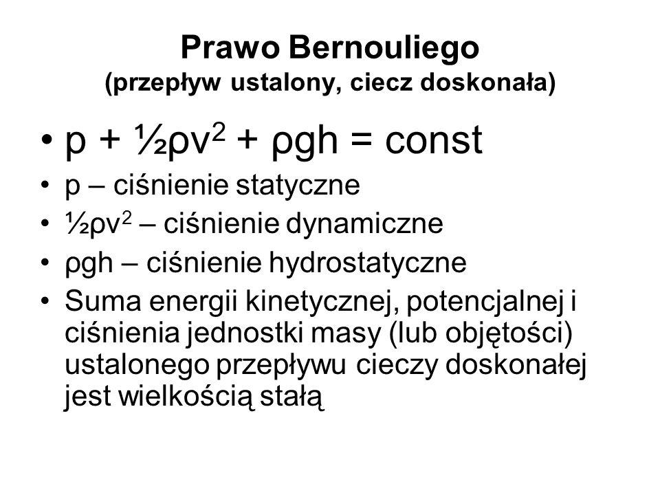 Prawo Bernouliego (przepływ ustalony, ciecz doskonała) p + ½ρv 2 + ρgh = const p – ciśnienie statyczne ½ρv 2 – ciśnienie dynamiczne ρgh – ciśnienie hy