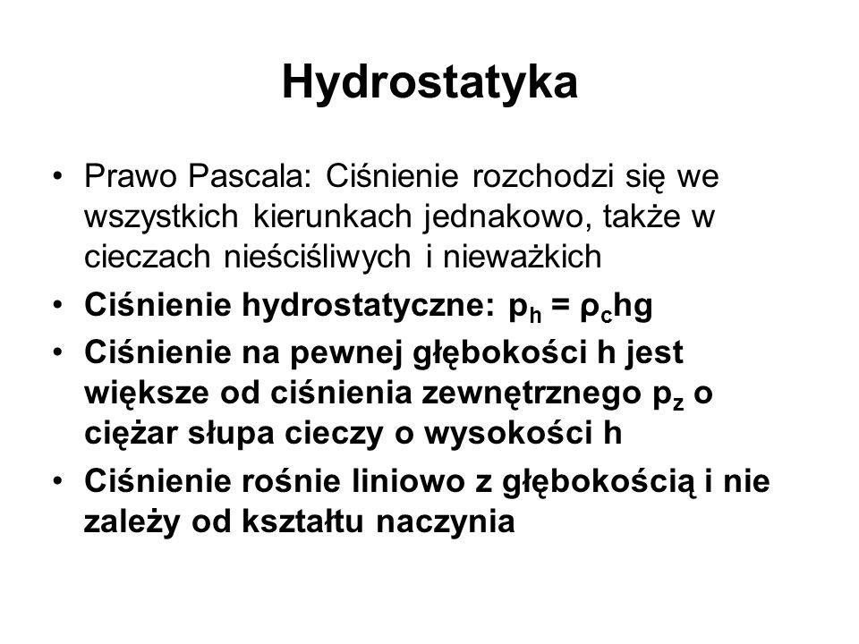 Hydrostatyka Prawo Pascala: Ciśnienie rozchodzi się we wszystkich kierunkach jednakowo, także w cieczach nieściśliwych i nieważkich Ciśnienie hydrosta
