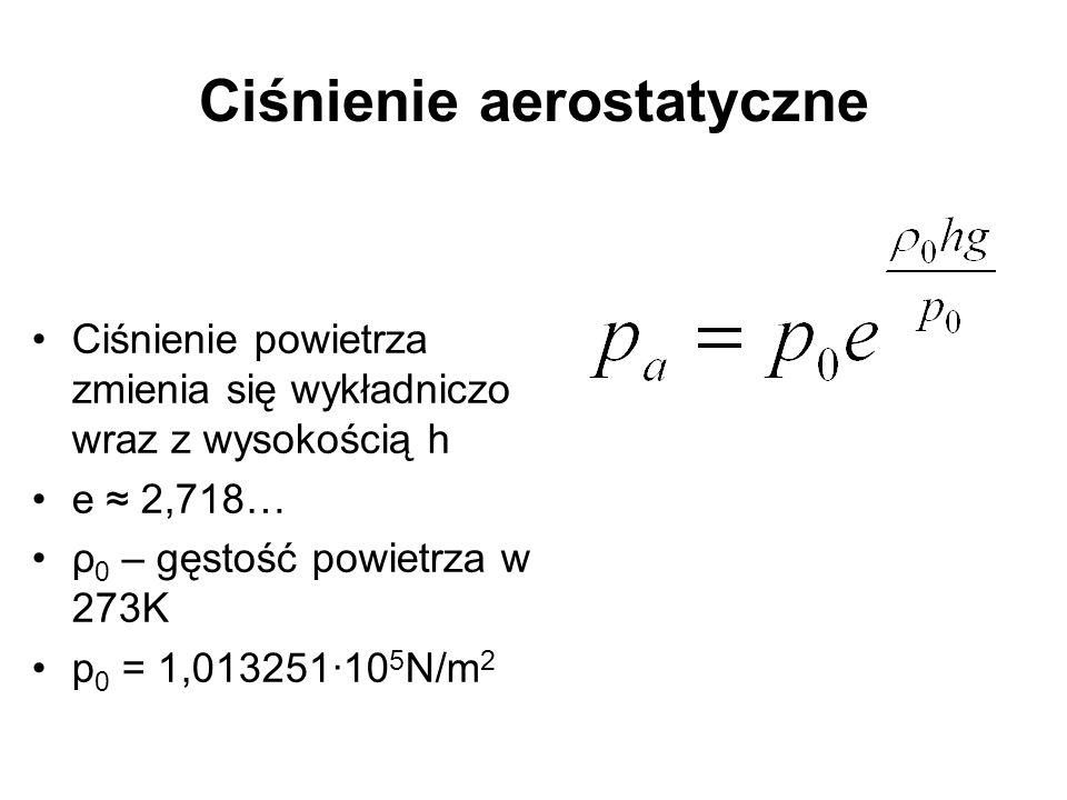 Ciśnienie aerostatyczne Ciśnienie powietrza zmienia się wykładniczo wraz z wysokością h e 2,718… ρ 0 – gęstość powietrza w 273K p 0 = 1,013251·10 5 N/