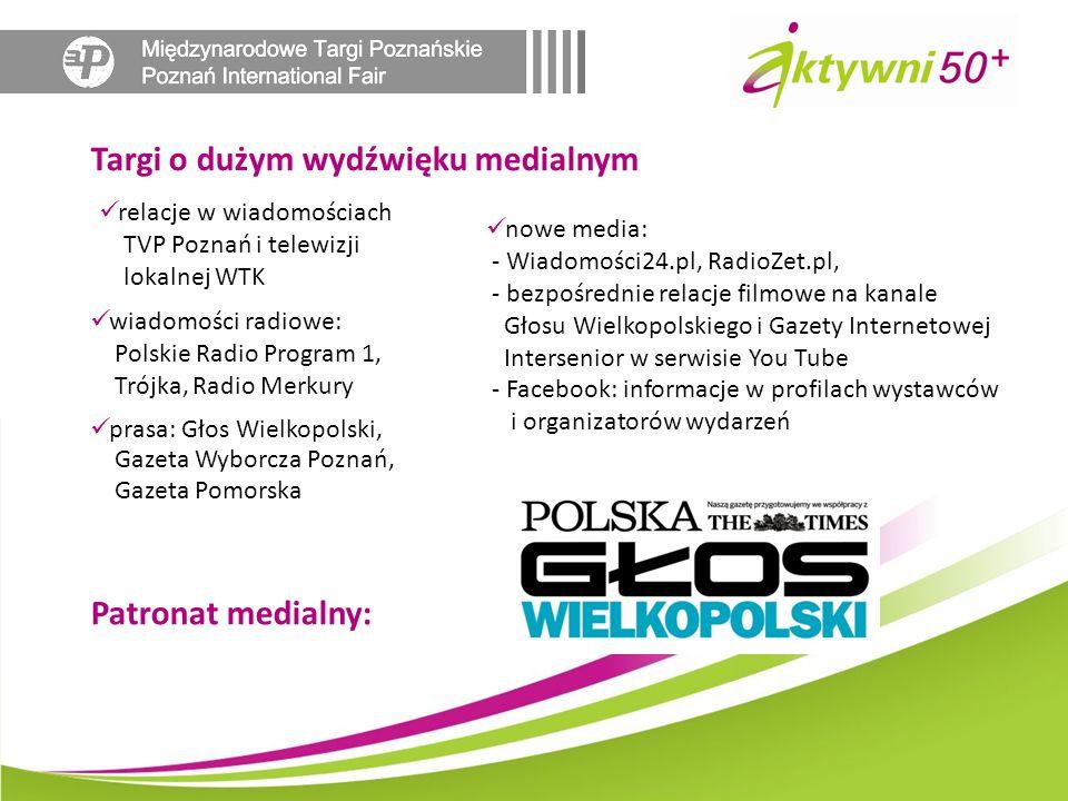 Targi o dużym wydźwięku medialnym relacje w wiadomościach TVP Poznań i telewizji lokalnej WTK nowe media: - Wiadomości24.pl, RadioZet.pl, - bezpośredn