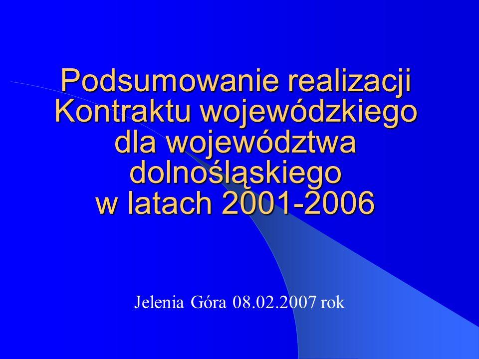 Podsumowanie realizacji Kontraktu wojewódzkiego dla województwa dolnośląskiego w latach 2001-2006 Jelenia Góra 08.02.2007 rok