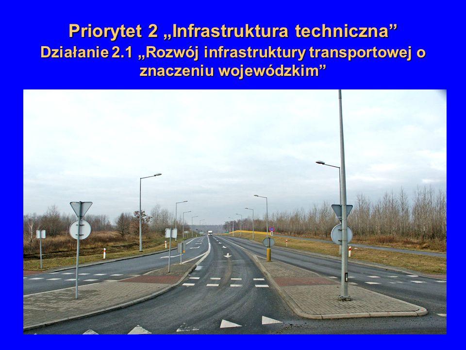 Priorytet 2 Infrastruktura techniczna Działanie 2.1 Rozwój infrastruktury transportowej o znaczeniu wojewódzkim