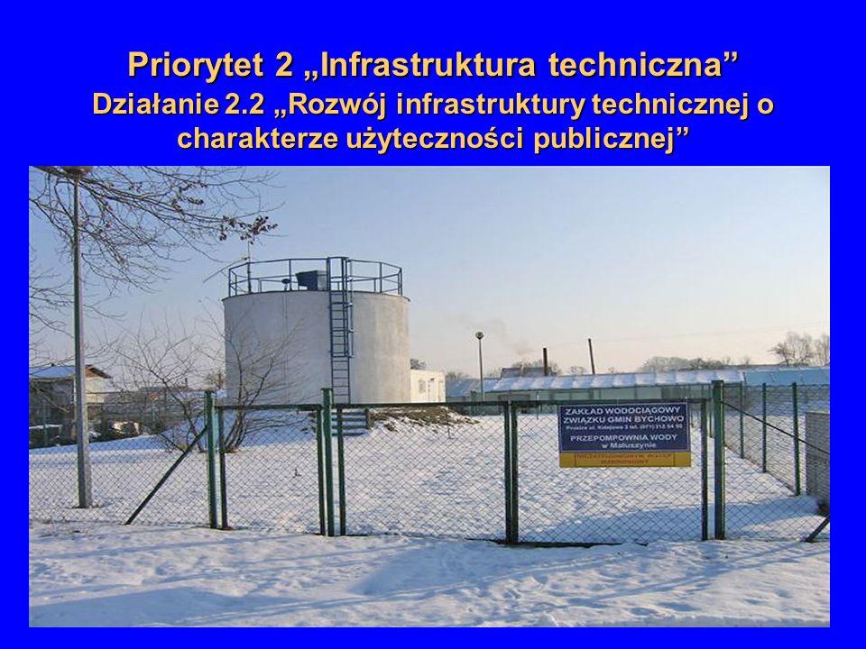Priorytet 2 Infrastruktura techniczna Działanie 2.2 Rozwój infrastruktury technicznej o charakterze użyteczności publicznej