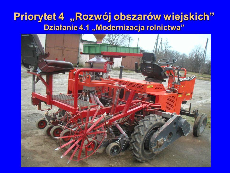 Priorytet 4 Rozwój obszarów wiejskich Działanie 4.1 Modernizacja rolnictwa