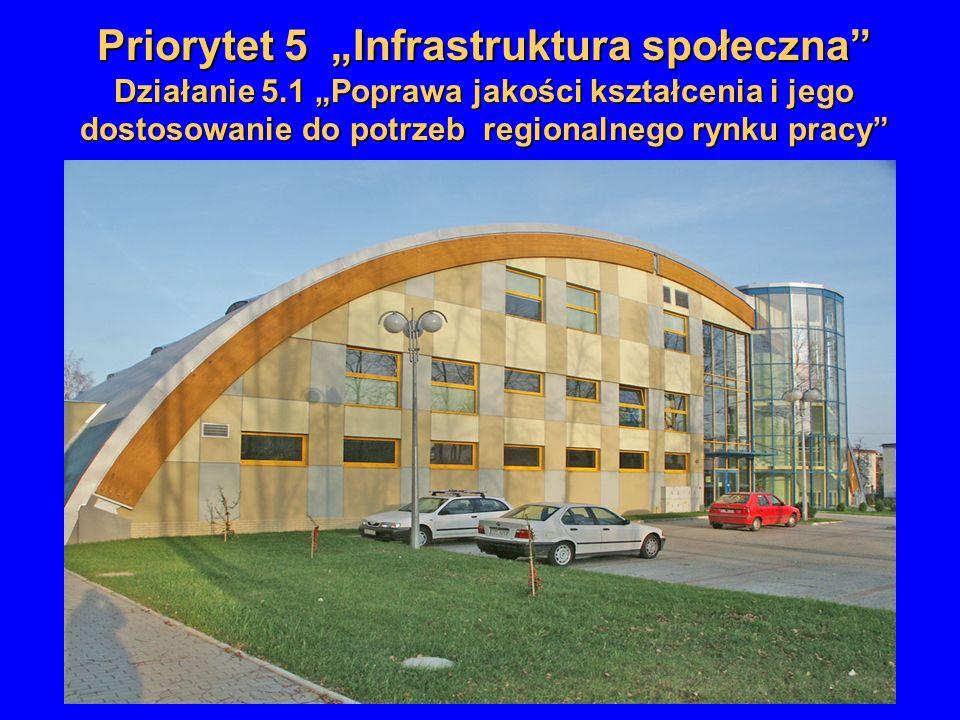 Priorytet 5 Infrastruktura społeczna Działanie 5.1 Poprawa jakości kształcenia i jego dostosowanie do potrzeb regionalnego rynku pracy
