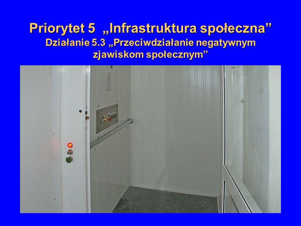 Priorytet 5 Infrastruktura społeczna Działanie 5.3 Przeciwdziałanie negatywnym zjawiskom społecznym