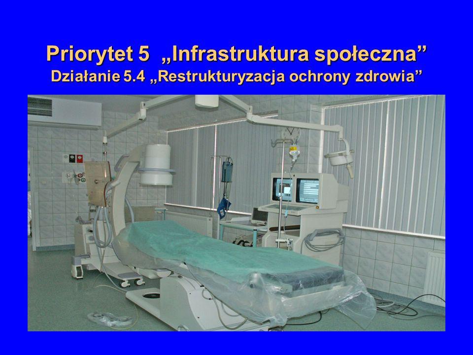 Priorytet 5 Infrastruktura społeczna Działanie 5.4 Restrukturyzacja ochrony zdrowia