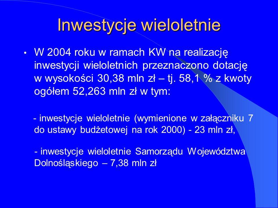 Inwestycje wieloletnie W 2004 roku w ramach KW na realizację inwestycji wieloletnich przeznaczono dotację w wysokości 30,38 mln zł – tj.